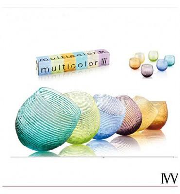 multicolor set 6 bicchieri acqua colori assortiti ivv